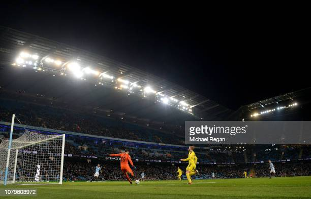 General view inside the stadium as Arijanet Muric of Manchester City clears during the Carabao Cup Semi Final First Leg match between Manchester City...