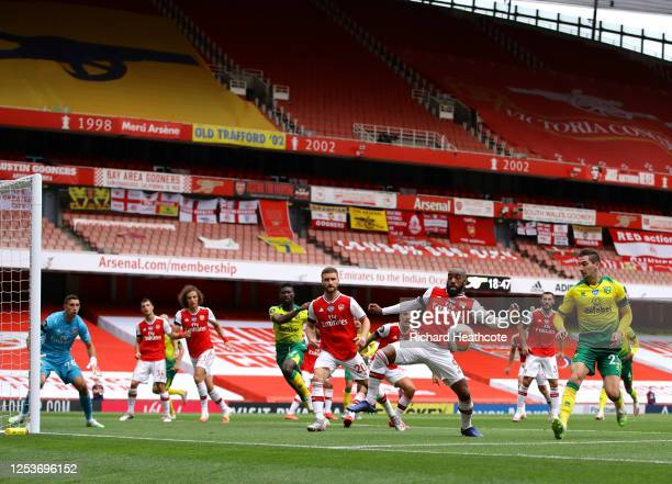 General view inside the stadium as Arsenal defend a corner kick, Alexandre Lacazette of Arsenal attempts to block the ball during the Premier League...