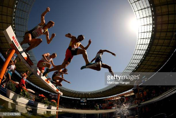A general view inside the stadium as athletes compete in the Men's 3000m Steeplechase Qualifying Rounds during day one of the 24th European Athletics...