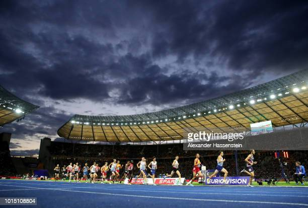 General view inside the stadium as athletes compete in the Men's 5000m Final during day five of the 24th European Athletics Championships at...