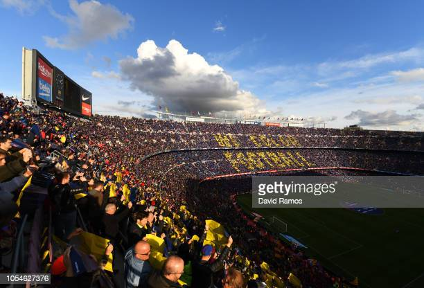 General view inside the stadium as Barcelona fans show their support prior to the La Liga match between FC Barcelona and Real Madrid CF at Camp Nou...