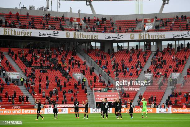 General view inside the stadium as Bayer 04 Leverkusen players show appreciation to their fans prior to the Bundesliga match between Bayer 04...