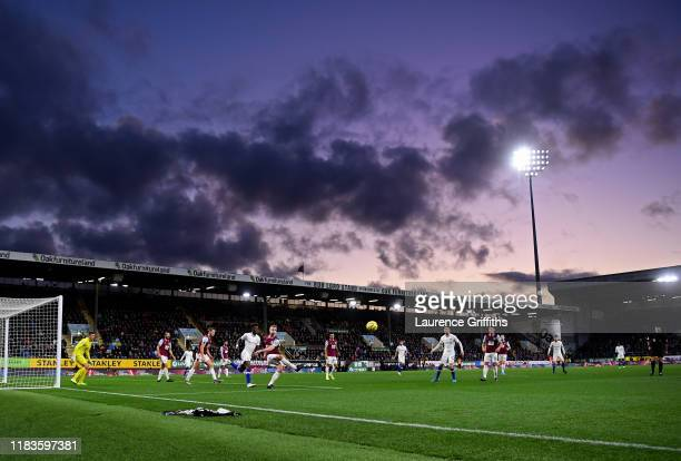General view inside the stadium as Ben Mee of Burnley clears the ball during the Premier League match between Burnley FC and Chelsea FC at Turf Moor...