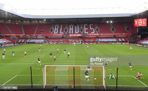 General view inside the stadium as Billy Sharp of Sheffield United scores his team's second goal past Michael Cooper of Plymouth Argyle during The...