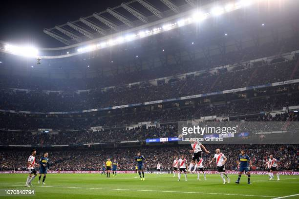 General view inside the stadium as Boca Juniors take a free kick during the second leg of the final match of Copa CONMEBOL Libertadores 2018 between...