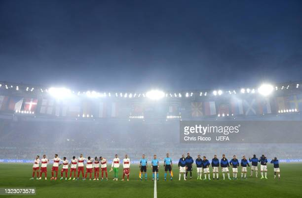General view inside the stadium as both teams line up for the national anthem's prior to the UEFA Euro 2020 Championship Group A match between Turkey...