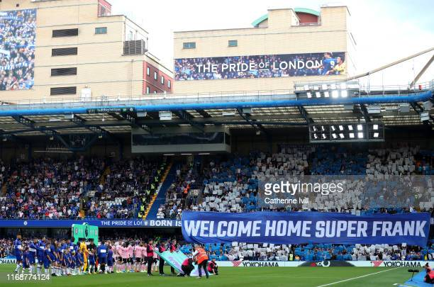 General view inside the stadium as both team's line up prior to the Premier League match between Chelsea FC and Leicester City at Stamford Bridge on...