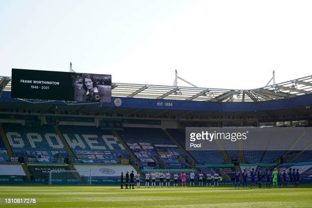 General view inside the stadium as both teams pay their respects by standing for a minutes applause in memory of Frank Worthington prior to the...