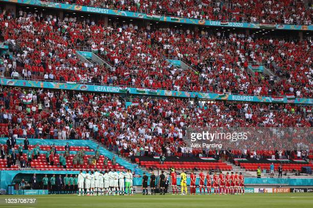 General view inside the stadium as both teams stand for the national anthem prior to the UEFA Euro 2020 Championship Group F match between Hungary...