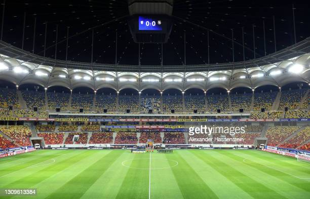 General view inside the stadium as both teams stand for the stand for the national anthem prior to the FIFA World Cup 2022 Qatar qualifying match...