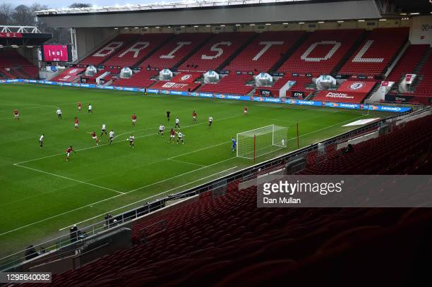 General view inside the stadium as Chris Martin of Bristol City scores their team's second goal during the FA Cup Third Round match between Bristol...