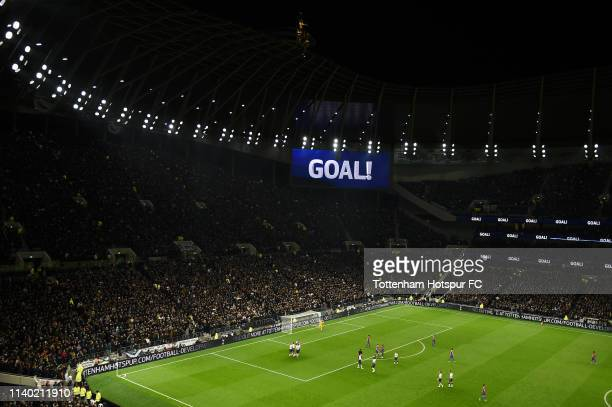 General view inside the stadium as Christian Eriksen of Tottenham Hotspur celebrates with teammates after scoring his team's second goal during the...