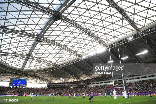 General view inside the stadium as Christian Lealiifano of Australia kicks a penalty during the Rugby World Cup 2019 Quarter Final match between...
