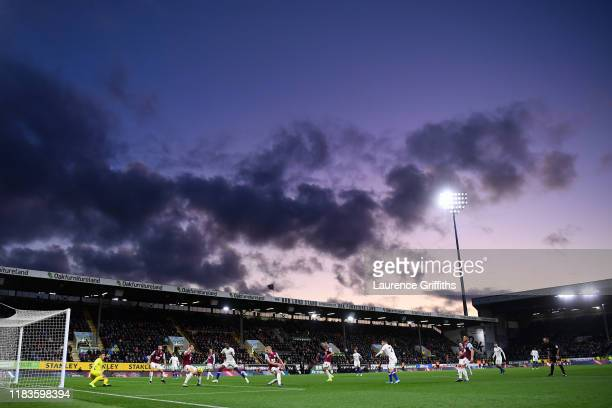 General view inside the stadium as Christian Pulisic of Chelsea has a shot saved during the Premier League match between Burnley FC and Chelsea FC at...