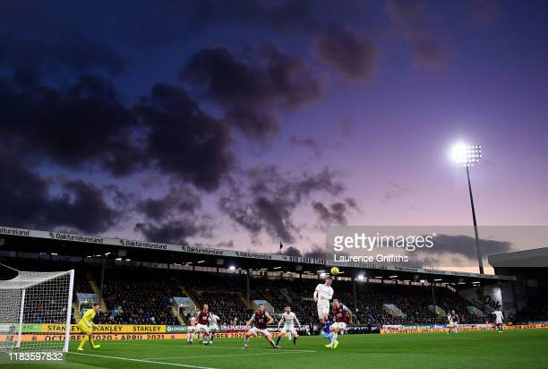 General view inside the stadium as Christian Pulisic of Chelsea jumps to head the ball during the Premier League match between Burnley FC and Chelsea...