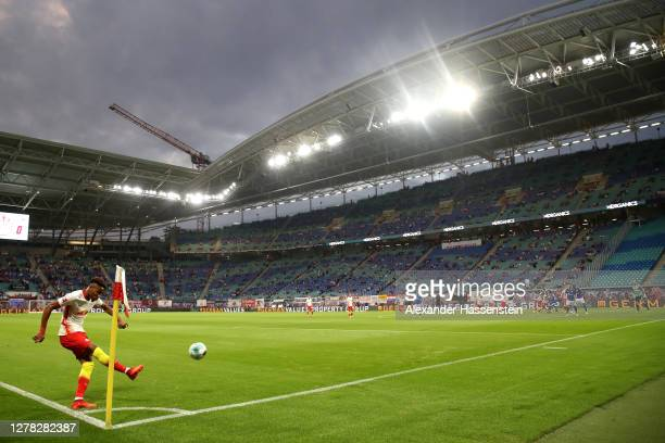 General view inside the stadium as Christopher Nkunku of RB Leipzig takes a corner kick during the Bundesliga match between RB Leipzig and FC Schalke...