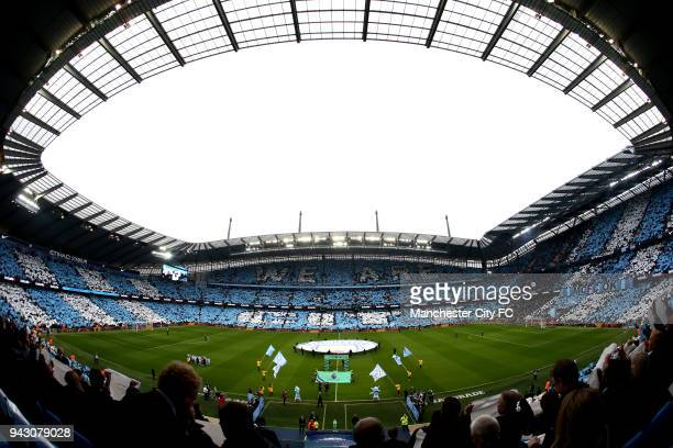General view inside the stadium as city fans show their support for their team as the teams walk out prior to the Premier League match between...
