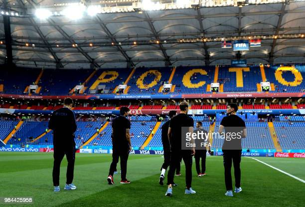 General view inside the stadium as Croatia warm up prior to the 2018 FIFA World Cup Russia group D match between Iceland and Croatia at Rostov Arena...