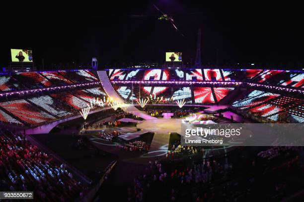 A general view inside the stadium as dancers perform during the closing ceremony of the PyeongChang 2018 Paralympic Games at the PyeongChang Olympic...