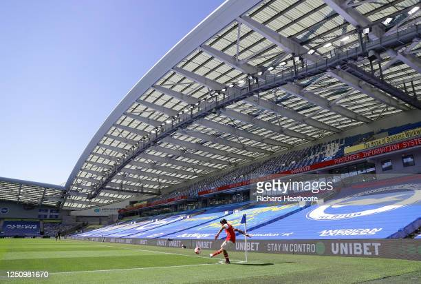 General view inside the stadium as Dani Ceballos of Arsenal takes a corner kick during the Premier League match between Brighton & Hove Albion and...