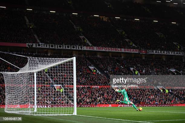 General view inside the stadium as David De Gea of Manchester United takes a goal kick during the Premier League match between Manchester United and...