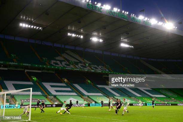 General view inside the stadium as David Turnbull of Celtic shoots during the Ladbrokes Scottish Premiership match between Celtic and Livingston at...