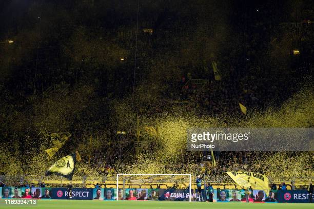 General view inside the stadium as Dortmund fans show their support prior to the UEFA Champions League Group F match between Borussia Dortmund and FC...