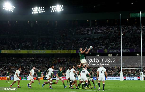 General view inside the stadium as Eben Etzebeth of South Africa wins a lineout ball during the Rugby World Cup 2019 Final between England and South...