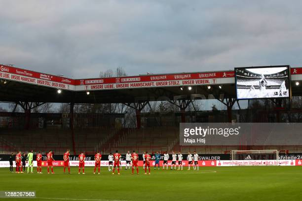 General view inside the stadium as Eintracht Frankfurt and 1. FC Union Berlin players observe a minutes silence for former footballer, Diego...