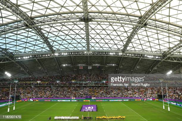General view inside the stadium as England and Australia players line up prior to the Rugby World Cup 2019 Quarter Final match between England and...