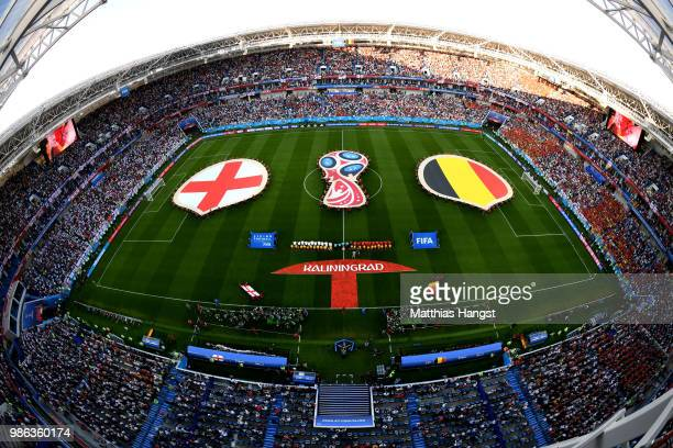 General view inside the stadium as England and Belgium line up prior to the 2018 FIFA World Cup Russia group G match between England and Belgium at...