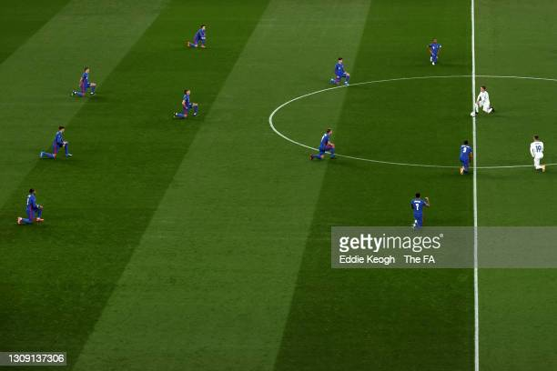 General view inside the stadium as England and San Marino players take a knee in support of the Black Lives Matter Movement prior to the FIFA World...