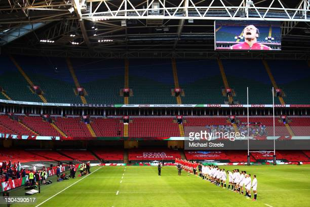 General view inside the stadium as England and Wales players line up prior to the Guinness Six Nations match between Wales and England at...