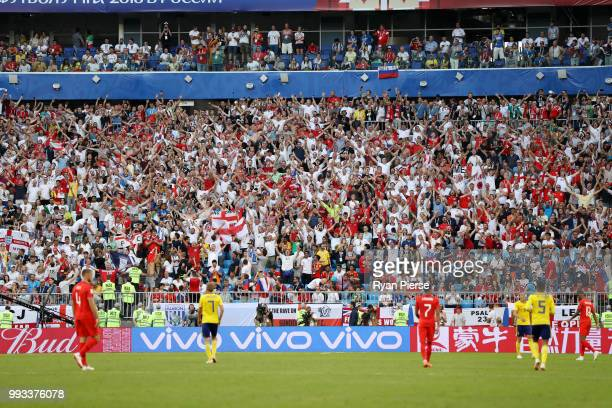 General view inside the stadium as England fans show their support during the 2018 FIFA World Cup Russia Quarter Final match between Sweden and...