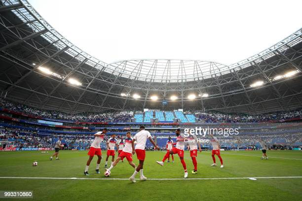 General view inside the stadium as England players warm up prior to the 2018 FIFA World Cup Russia Quarter Final match between Sweden and England at...