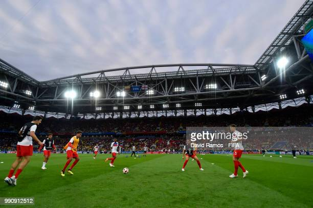 General view inside the stadium as England warms up prior to the 2018 FIFA World Cup Russia Round of 16 match between Colombia and England at Spartak...