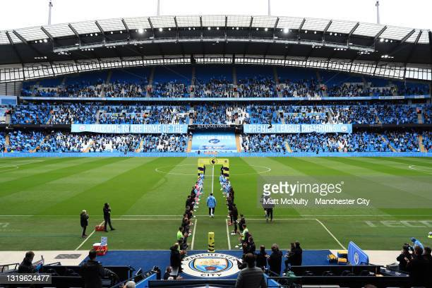 General view inside the stadium as Everton and Manchester City players give Sergio Aguero of Manchester City a guard of honour, ahead of his last...