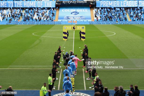 General view inside the stadium as Everton players give the Premier League Winners Manchester City a guard of honour, as they walk out to the pitch...