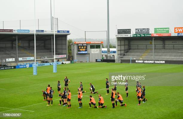 General view inside the stadium as Exeter Chiefs players 'Take a Knee' in support of the black lives matter movement prior to the Gallagher...