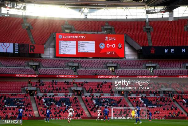 General view inside the stadium as fans are seen watching the Semi Final of the Emirates FA Cup between Leicester City and Southampton FC at Wembley...