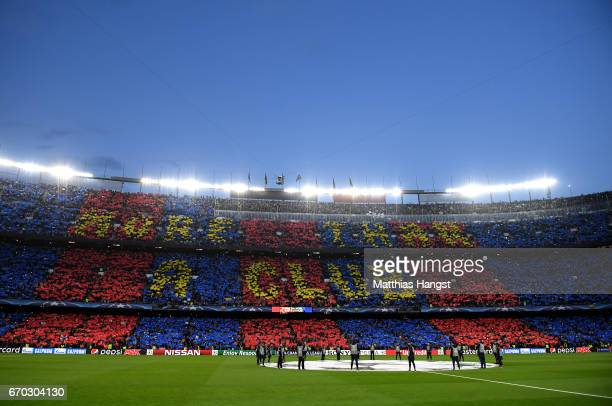 General view inside the stadium as fans create a display with cards prior to the UEFA Champions League Quarter Final second leg match between FC...