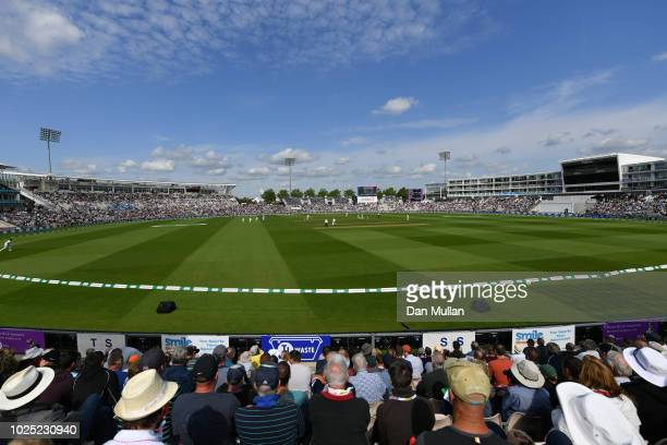 A general view inside the stadium as fans enjoy the match during Day One of the Specsavers 4th Test match between England and India at The Ageas Bowl...