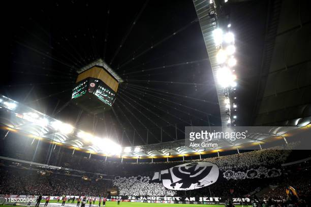 General view inside the stadium as fans of Eintracht Frankfurt display a tifo ahead of the UEFA Europa League group F match between Eintracht...