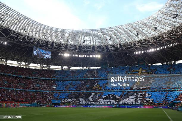 General view inside the stadium as fans raise coloured squares prior to the UEFA Euro 2020 Championship Group F match between Hungary and Portugal at...