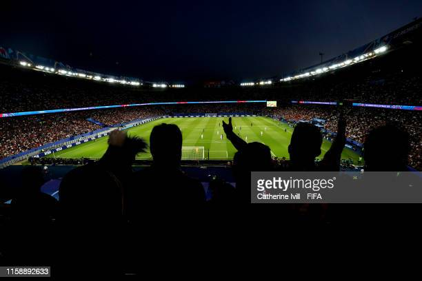 General view inside the stadium as fans react during the 2019 FIFA Women's World Cup France Quarter Final match between France and USA at Parc des...