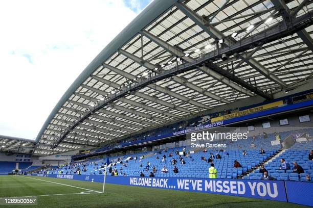 General view inside the stadium as fans return as part of a pilot event following the coronavirus pandemic during the pre-season friendly between...