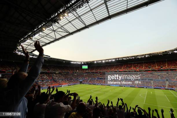 General view inside the stadium as fans show their support during the 2019 FIFA Women's World Cup France Semi Final match between Netherlands and...