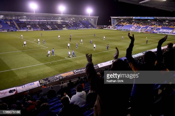 General view inside the stadium as fans show their support from the stands in the Sky Bet League One match between Shrewsbury Town and Accrington...