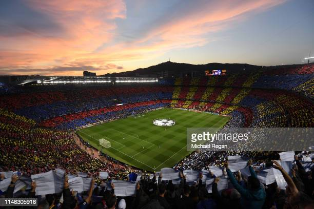 General view inside the stadium as fans shows their support with a Tifo during the UEFA Champions League Semi Final first leg match between Barcelona...