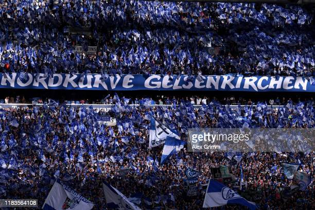 General view inside the stadium as FC Shalke 04 players show their support prior to the Bundesliga match between FC Schalke 04 and Borussia Dortmund...